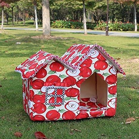 rowzy (TM) 2016 Caliente venta impermeable cálido perro tienda de campaña plegable superior doble habitación Jaula de caseta de perro - Caseta de perro ...
