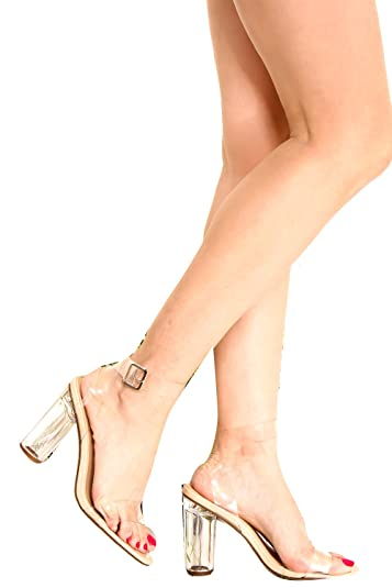 fc70a4d526c3 DND ANNA OPEN TOE CLEAR TRANSPARENT PERPETUAL PERSPEX CHUNKY COLUMN HIGH  HEEL 5 nude