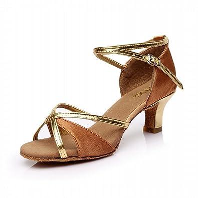 BYLE Leder Sandalen Samba Modern Jazz Tanzen Schuhe Präsident Nach  Klassischen Geflochtene Satin Weichen Boden High