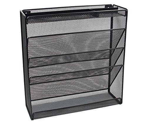 EasyPAG Mesh Collection Desktop Wall Mounted File Holder Organizer Literature Rack - Black