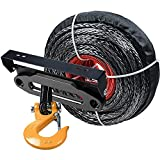 95' x 3/8'' Synthetic Winch Rope Line Cable Heat Guard YELLOW Hook + 10'' Bolt Black Hawse Fairlead + 254mm Flip-Up License Plate Holder Kit ATV UTV KFI Truck Recovery