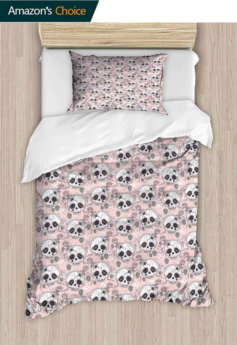 Skull Custom Made Quilt Cover and Pillowcase Set, Halloween Traditional Mexican Sugar Day of The Dead Roses Horror Folk Pattern, Decorative 2 Piece Bedding Set with 1 Pillow Sham, 79 W x 90 L Inches by carmaxshome