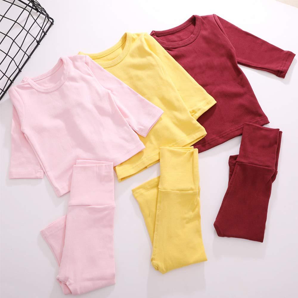 Eastern Corridor-EU Kleinkind Baby M/ädchen Jungen Thermounterw/äsche-Set Baumwolle Unterw/äsche Langer John Pyjama 2er-Set Rosa 0-6 Monate