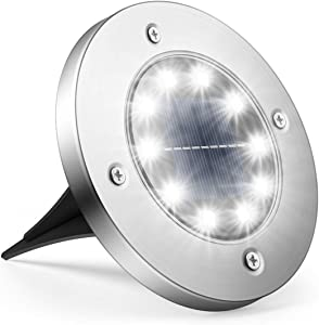 Solar Ground Lights, StarGinz 1-Pack Outdoor Solar Disk Lights Waterproof Light-Controlled Lamp for Patio Pathway Landscape Garden Yard Driveway