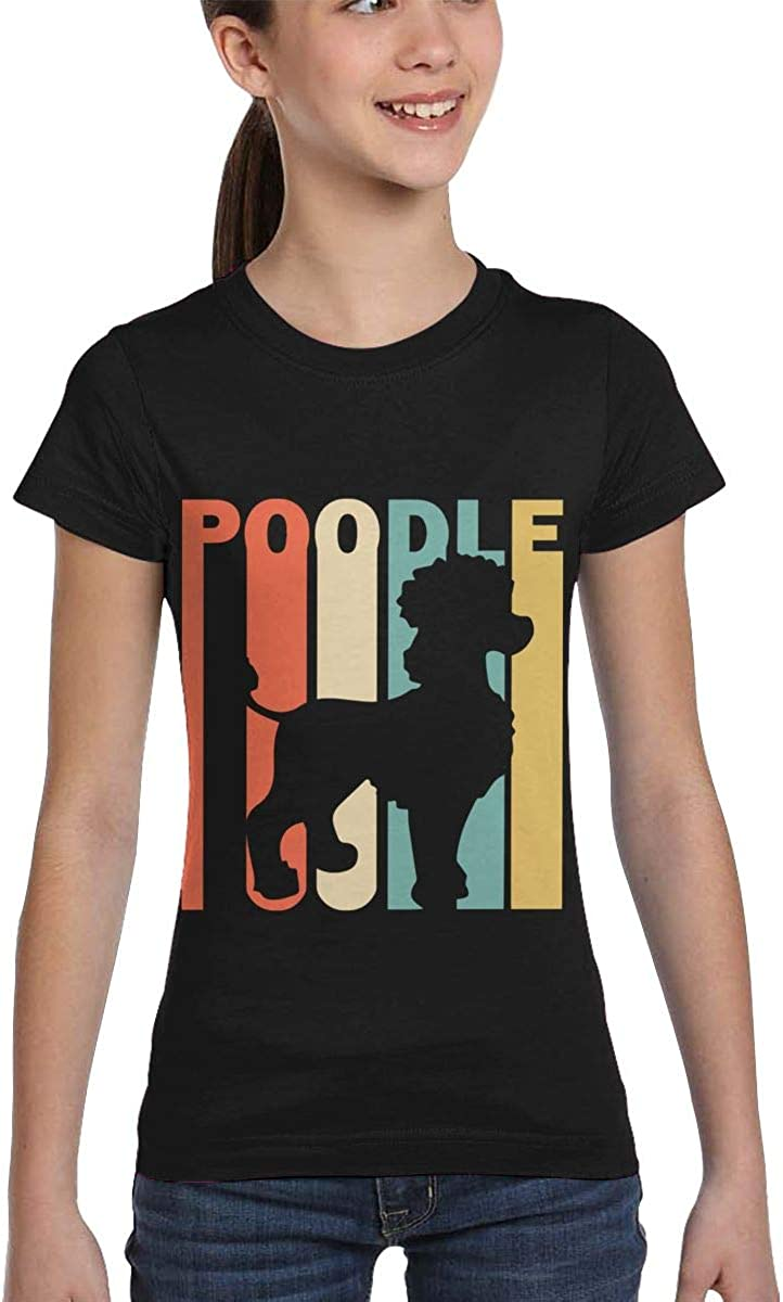XS-XL Girls Short Sleeve Retro Style Poodle Silhouette T-Shirts Fashion Tunic Shirt Dress