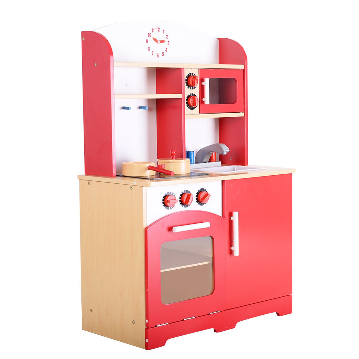 Amazon com giantex wood kitchen play set for kids cooking pretend toddler playset red toys games
