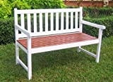 4-Foot Painted Wooden Garden Bench in White