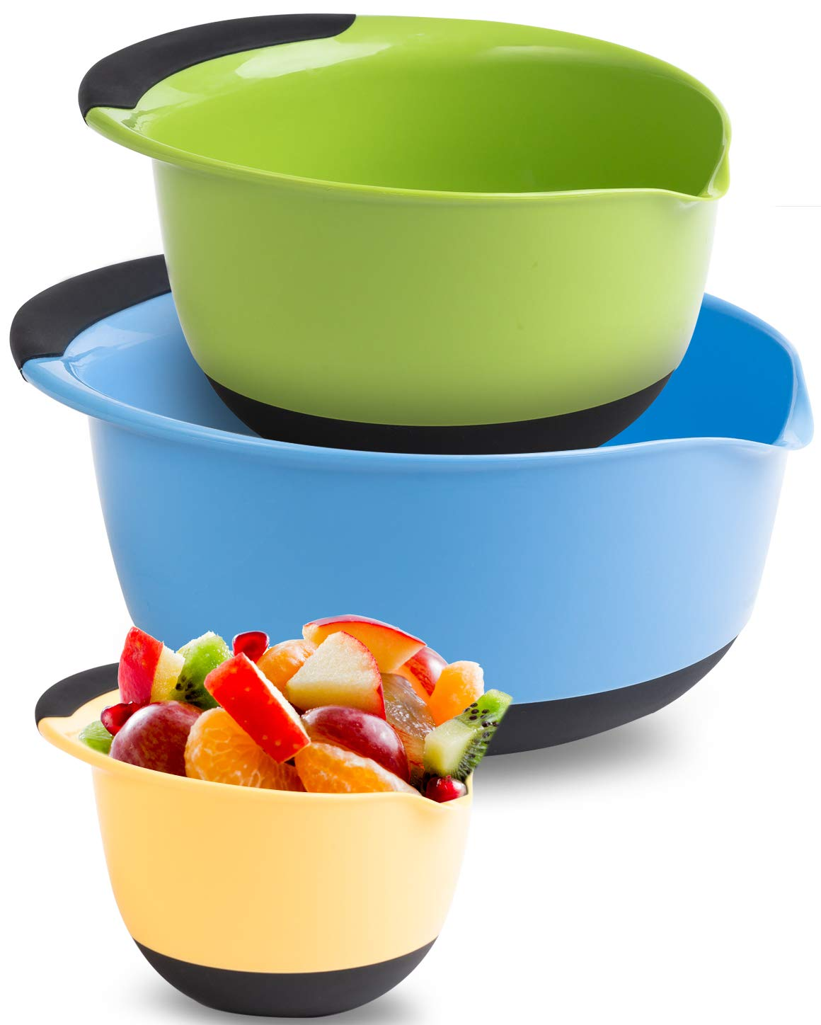 Premium Plastic Mixing Bowls (Set of 3) Sizes: 1.5, 3 & 5 QT - With Non Slip Bottom & Pouring Spout. For Healthy Cooking & Baking, Nesting and Stackable Free Bonus - measuring cup by MONKA (Image #9)
