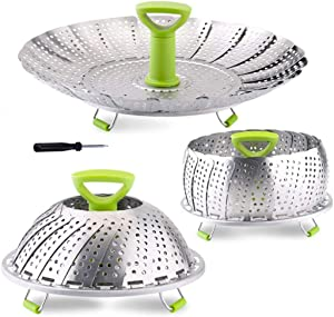 Vegetable Steamer Basket, Stainless Steel Folding Steamer Basket Insert for Veggie Fish Seafood Cooking, Expandable to Fit Various Size Pot (5.1