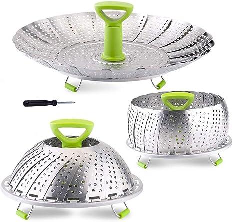 1pcs Stainless Folding Mesh Dish Vegetable Fruit Steamer Basket Cook Poacher Z