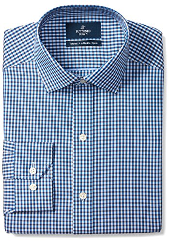 (BUTTONED DOWN Men's Tailored Fit Spread-Collar Pattern Non-Iron Dress Shirt, Blue/Brown Gingham, 16