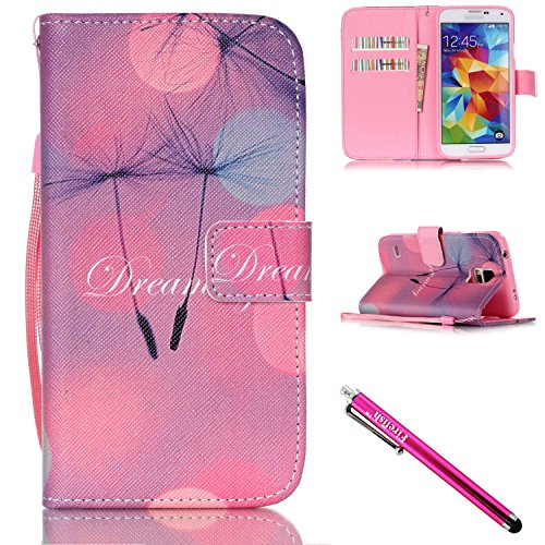 Galaxy S5 mini Case, Firefish [Kickstand] PU Leather Flip Purse Case Slim Bumper Cover with Lanyard Magnetic Skin for Samsung Galaxy S5 mini (SM-G800) + including One - J Juicy Email