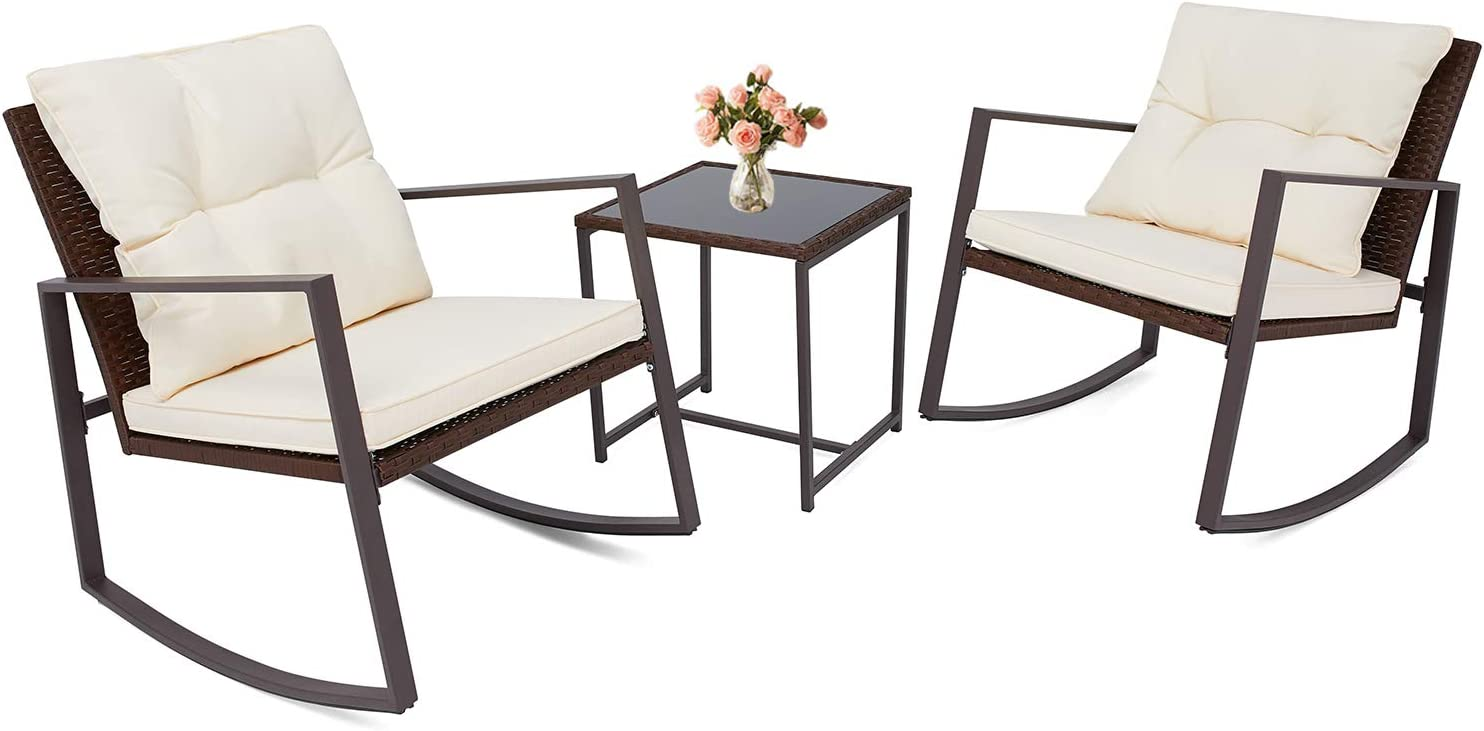 Incbruce Outdoor Indoor 3 Pcs Patio Furniture Rocking Chair Set, All-Weather Brown Wicker Bistro Sets with Cushions and Tempered Glass Coffee Table Beige