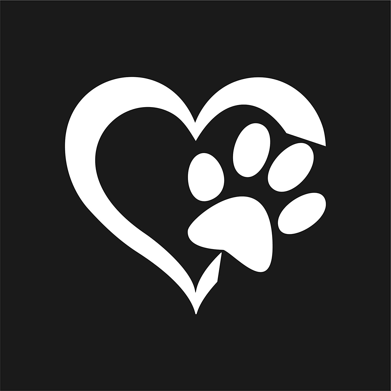 Folistick Love Hund Katze Aufkleber Pfote Herz Laptop Sticker Autoaufkleber Monsteraufkleber Weiss Auto