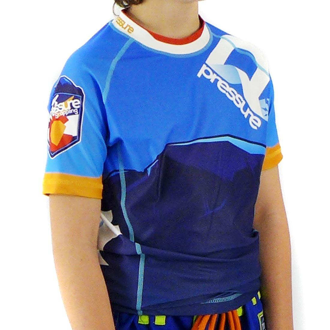 Pressure Grappling Kid's Premium BJJ Short Sleeve Rash Guards with Lockdown Band (Altitude, 2X Large) (Altitude, Youth Large) by Pressure Grappling