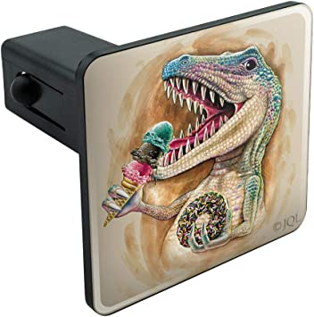 Graphics and More Dinosaur Tyrannosaurus Rex Black White Tow Trailer Hitch Cover Plug Insert 2