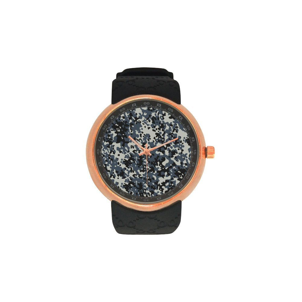 Novelty Gift Military Camo Camouflage Pattern Men's Rose Gold Plated Resin Strap Watch