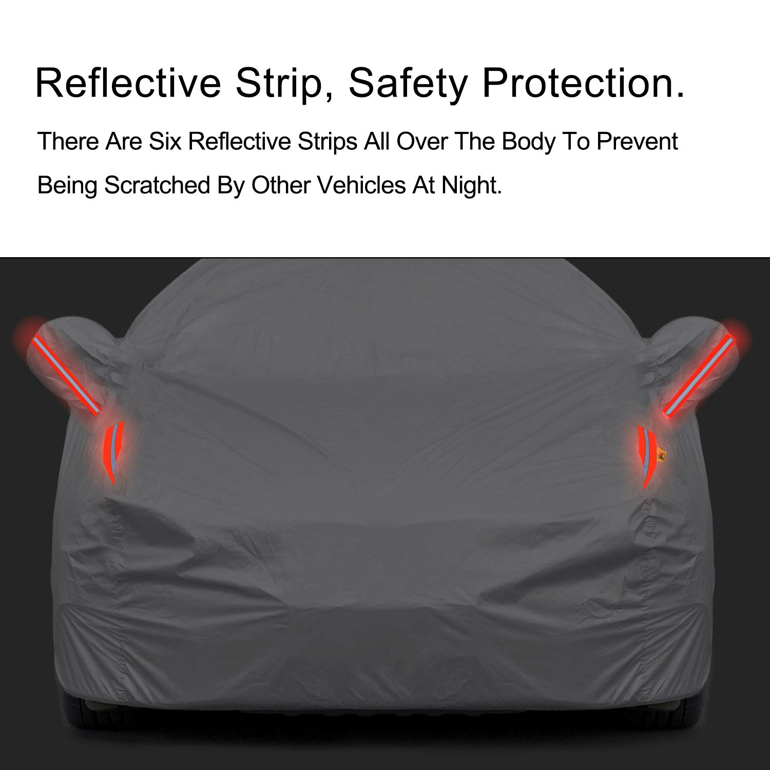 Black, 191-201 Color Rain Time UV Protection Car Cover Windproof Dustproof Scratch Resistant Outdoor Universal Full Car Covers for Sedan XL