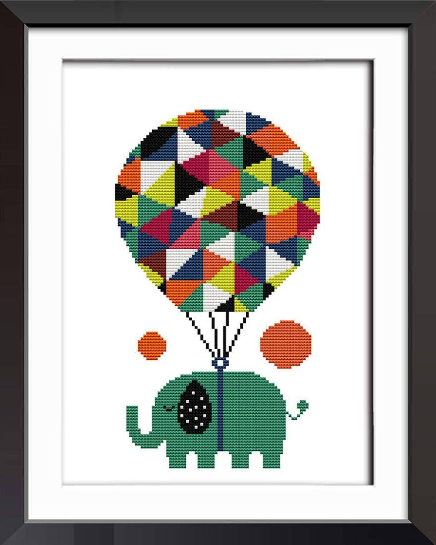 Elephant and Friends DIY Handmade Needlework Set Cross-Stitching Accurate Stamped Patterns Embroidery Frameless Fresh Cartoon Design 11 CT 15X 13 Good Value Cross Stitch Kits Beginners Kids