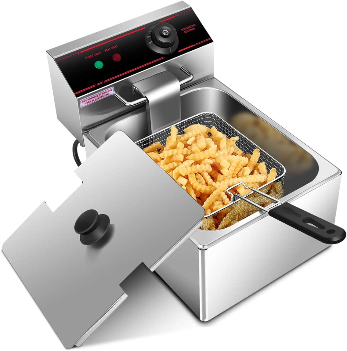 Safstar Professional Electric Deep Fryer, Stainless Steel Chicken Chips Fryer with Basket Scoop for Commercial Restaurant Countertop Family Food Cooking (Single Tank)