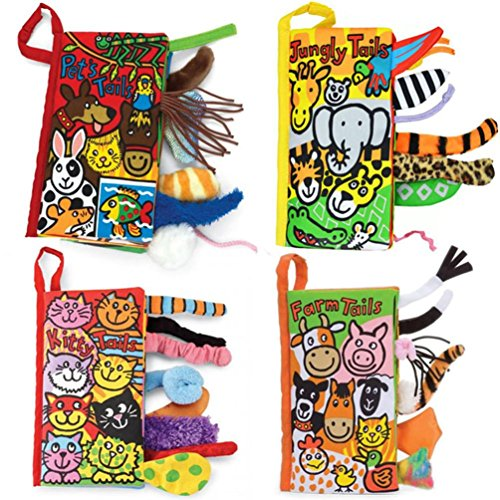 Kemilove Set of 4 Animal Tails Cloth book Baby Toy Cloth Development Books for 3~12 Month, Jungle Tails, Pets Tails, Kitty Tails,Farm Tails