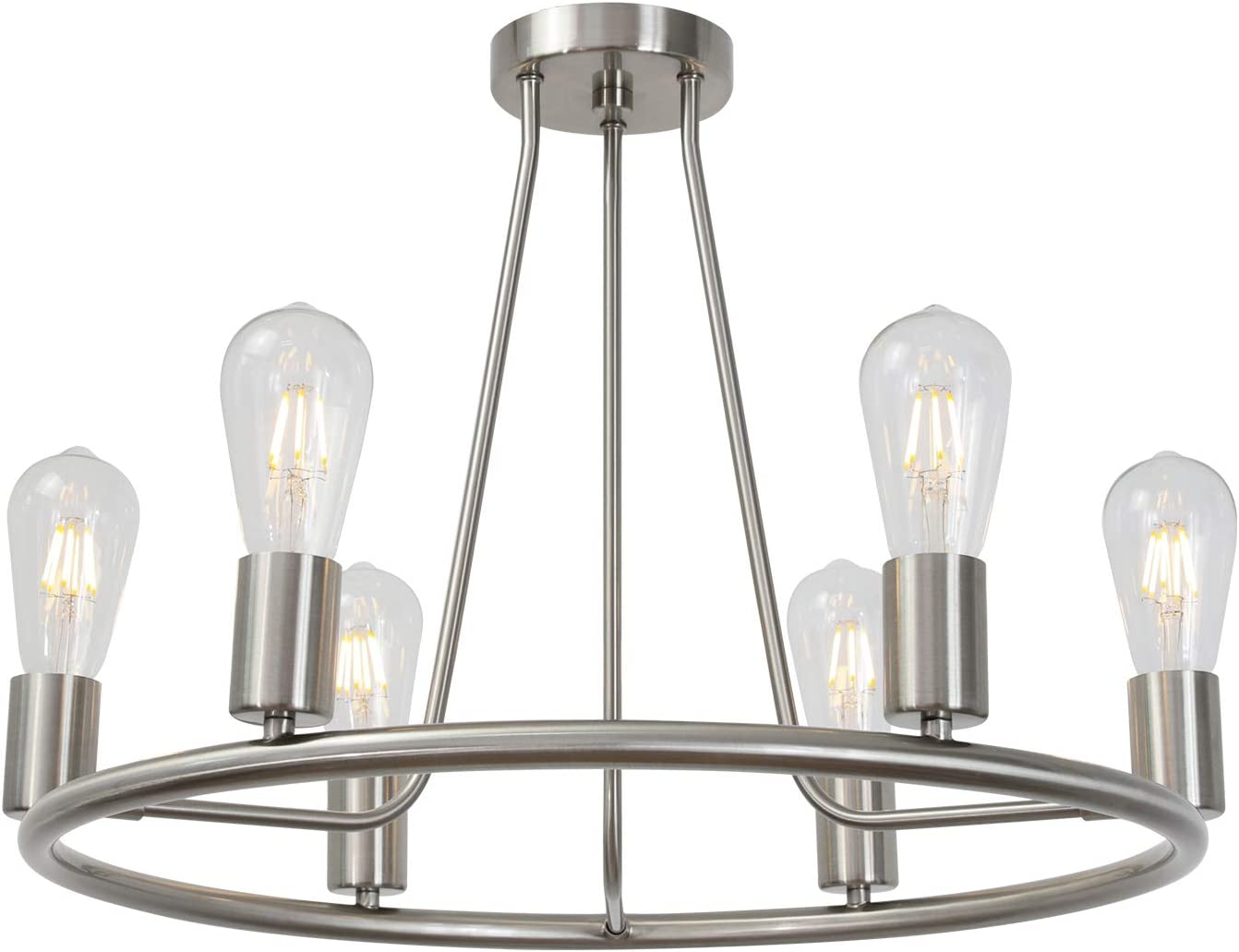 BONLICHT Round Farmhouse Chandelier Lighting 6-Light Modern Indoor Ceiling Lights Brushed Nickel Mid Century Flush Mount Light Fixtures Ceiling Kitchen Island Dining Room Lighting UL Listed