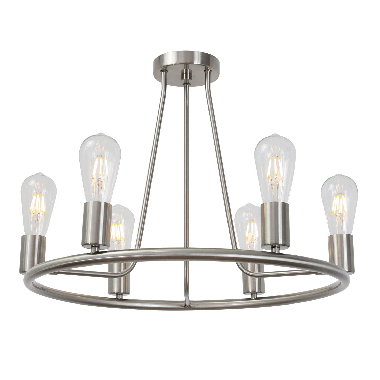 Bonlicht round farmhouse chandelier lighting 6 light modern indoor ceiling lights brushed nickel mid century flush mount light fixtures ceiling