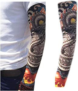 2pcs Outdoor Cycling Arm Protection Sunscreen Tattoo Sleeve UV Protection Cooling Arm Sleeves Men Women uvb Protective Sports Running Golf Cycling Basketball Driving Fishing Long Arm Cover Sleeves