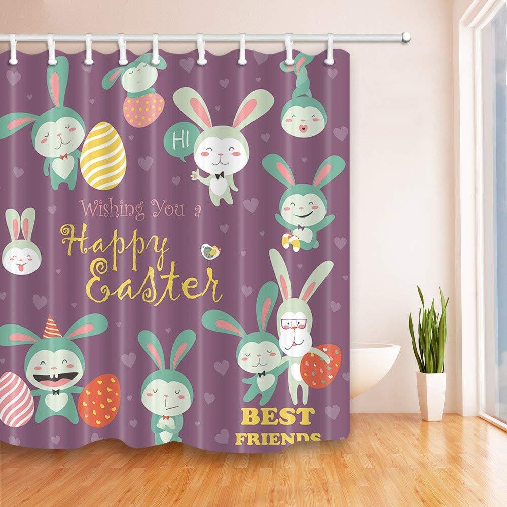 Oeuf de Pâques Salle De Bain Imperméable Tissu De Polyester Rideau de douche crochets fleur
