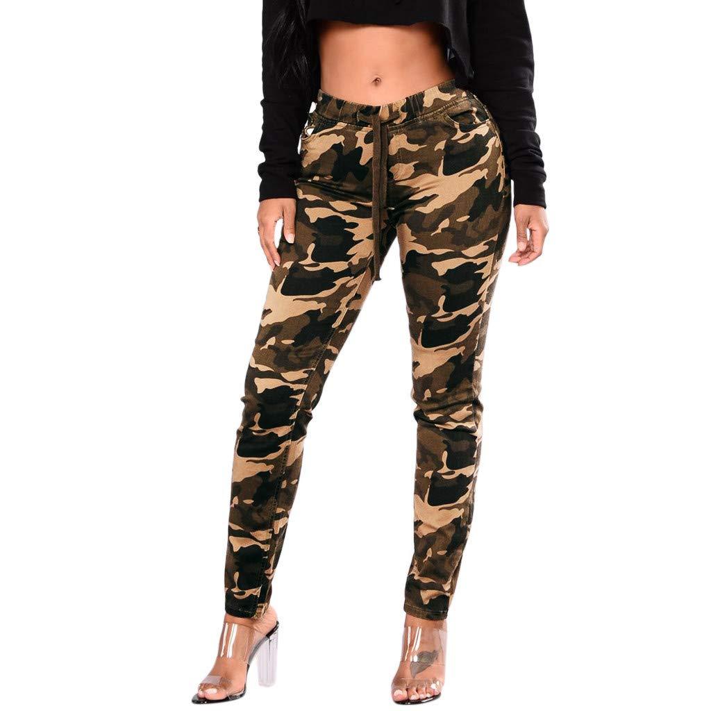 Waistband Bandage Mid-Waist Trousers,Tootu Women Camouflage Printed Pants TT-2124