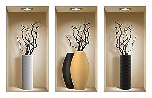 The Nisha Art Magic 3D Vinyl Removable Wall Sticker Decals DIY, Set of 3, Black Branches