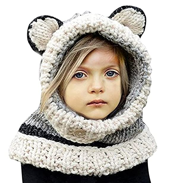 380a6e1d6 Winter Kids Warm Fox Animal Hats Knitted Coif Hood Scarf Beanies for Autumn  Winter