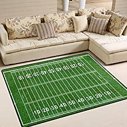 ALAZA American Football Field Green Sport Lover Area Rug Rugs for Living Room Bedroom 7' x 5'
