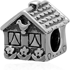 Sweet House Charm 925 Sterling Silver Family Charm Home Charm Love Charm for Pandora Bracelet (A)
