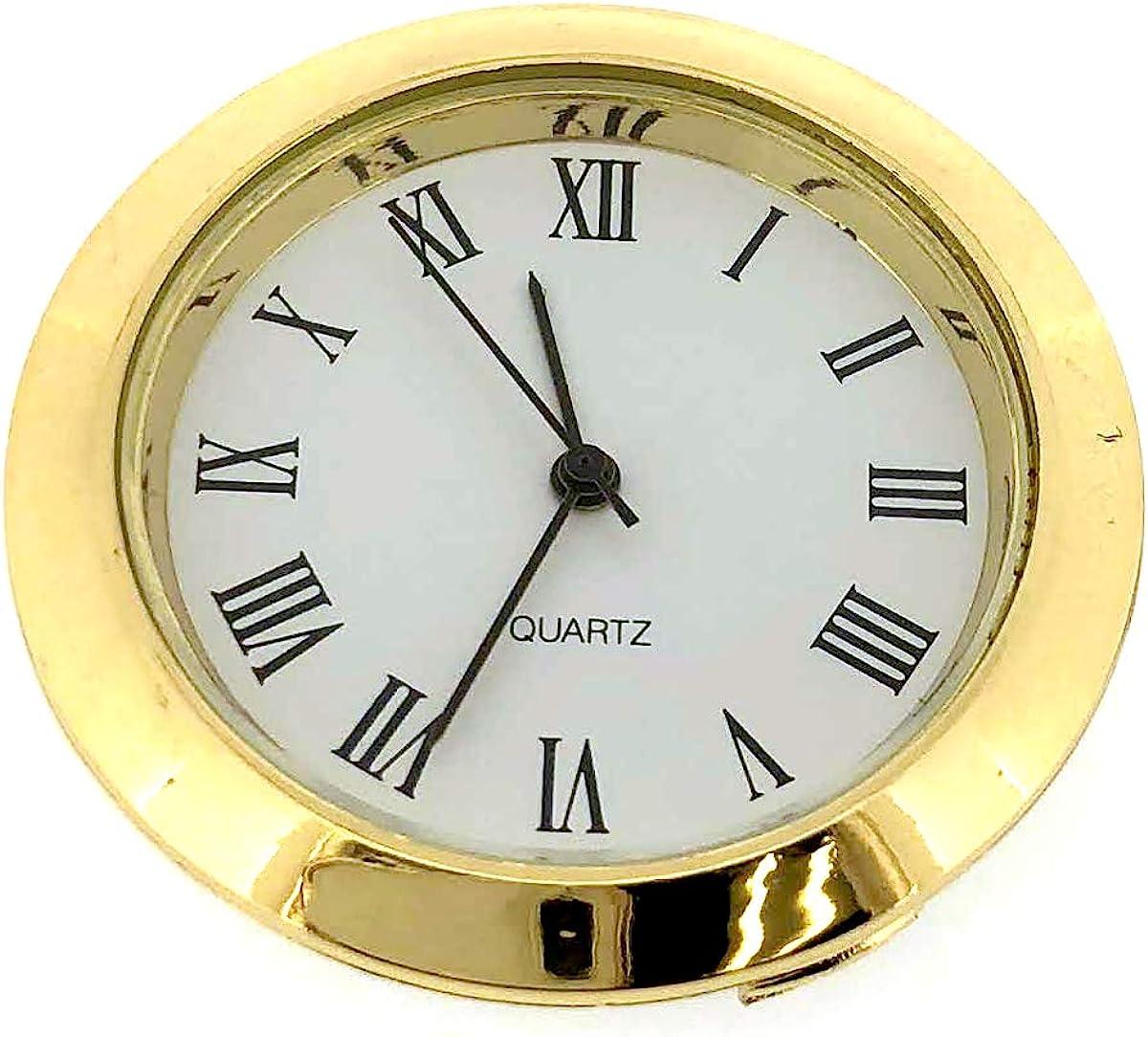 Mini Clock Quartz Movement Insert Round White Dial Gold Tone Bezel Roman Number