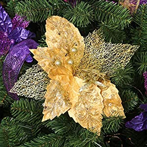 KI Store Large Christmas Poinsettia Flower Ornaments for Christmas Tree Decorations Pack of 6 Oversize Artificial Poinsettia Flower Picks Stems for Xmas Tree Wedding Centerpiece 3