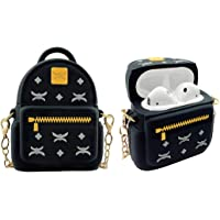 MOLOVA Case for Airpods 1&2 Case,Silicone 3D Cute Funny Cartoon Character Kawaii Bag Airpods Cover Shock Proof Compatiable with Wireless Charging Case for Kids Girls Teens Women Boys (Black Backpack)