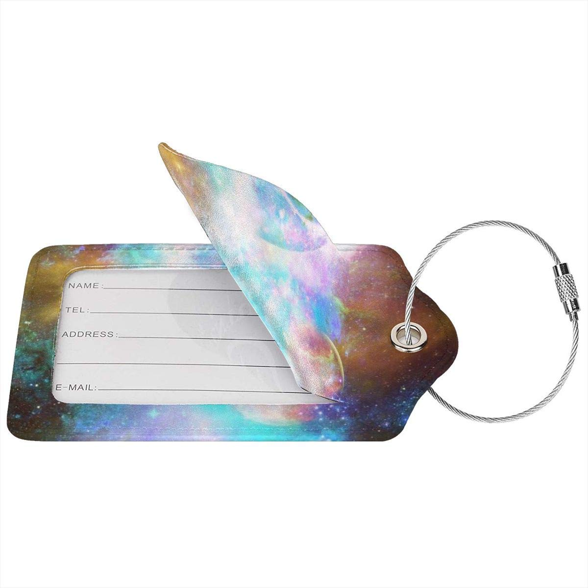 Colorful Galaxy Planet Luggage Tag Label Travel Bag Label With Privacy Cover Luggage Tag Leather Personalized Suitcase Tag Travel Accessories