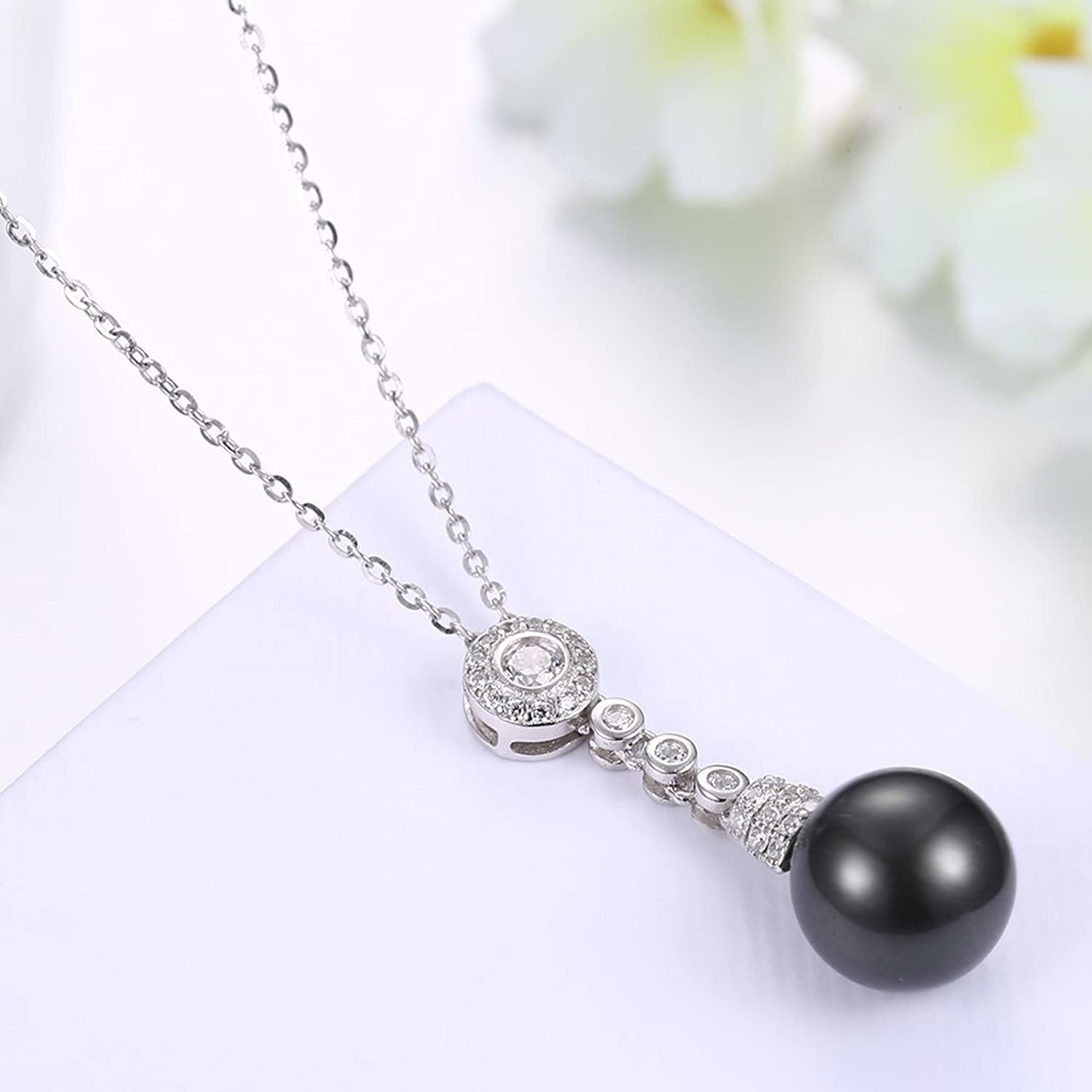 ANAZOZ S925 Sterling Silver Zirconia Necklace Women Simulated Black Pearl Pendant Necklace