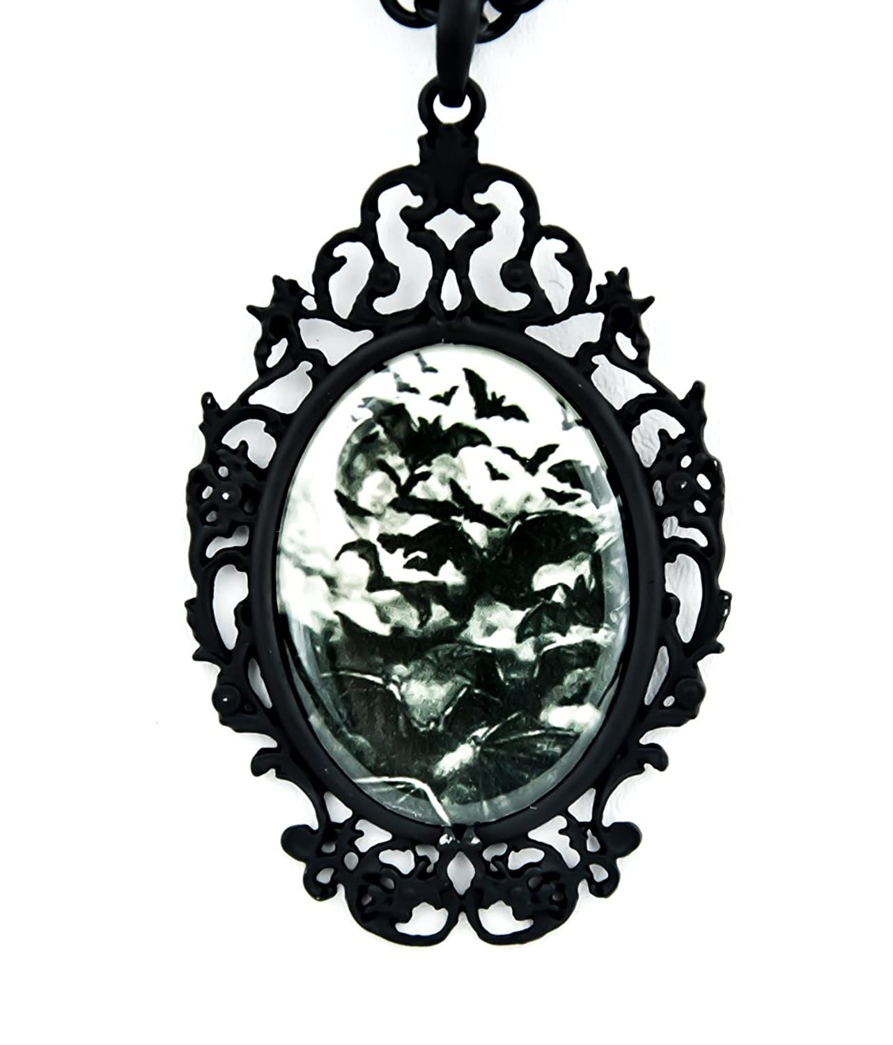 Vampire Bats Swarm Necklace Under a Full Moon Gothic Jewelry