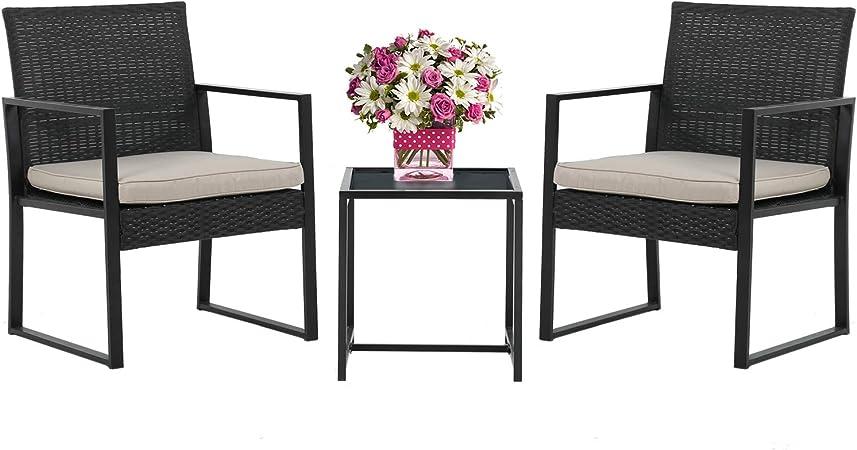 Amazon Com Wicker Patio Furniture 3 Piece Patio Set Chairs Bistro Set Outdoor Rattan Conversation Set For Backyard Porch Poolside Lawn Garden Outdoor