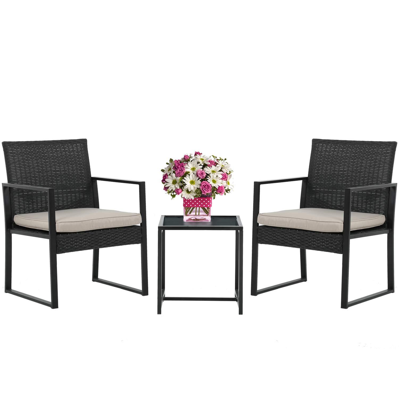 Wicker Patio Furniture 3 Piece Patio Set Chairs Bistro Set Outdoor Rattan Conversation Set for Backyard Porch Poolside Lawn