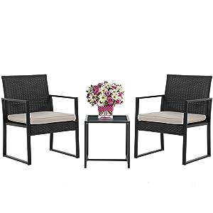 Wicker Patio Furniture 3 Piece Patio Set ChairsBistro SetOutdoor Rattan Conversation Set for Backyard Porch Poolside Lawn