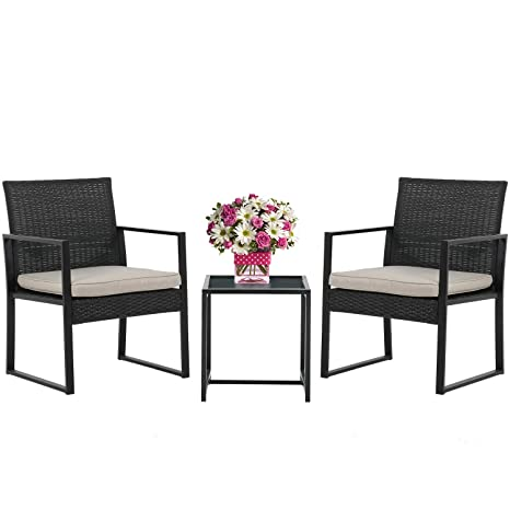 Pleasing Wicker Patio Furniture 3 Piece Patio Set Chairs Bistro Set Outdoor Rattan Conversation Set For Backyard Porch Poolside Lawn Home Interior And Landscaping Ponolsignezvosmurscom
