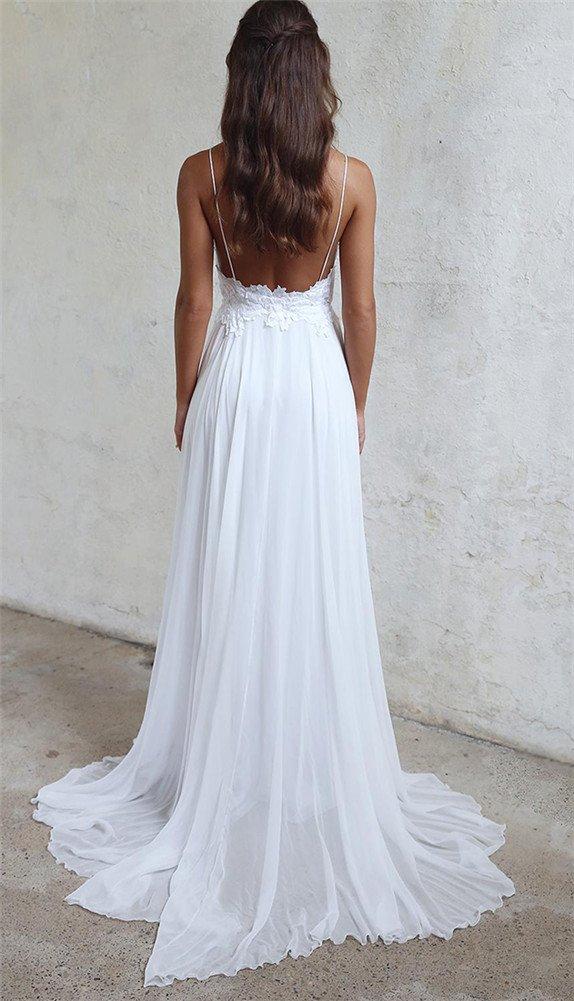 83ef30b3b0b4 Amazon.com: Menglu Sexy Backless Spaghetti Beach Wedding Dress Lace Chiffon  White Ivory Bridal Gown (18): Toys & Games