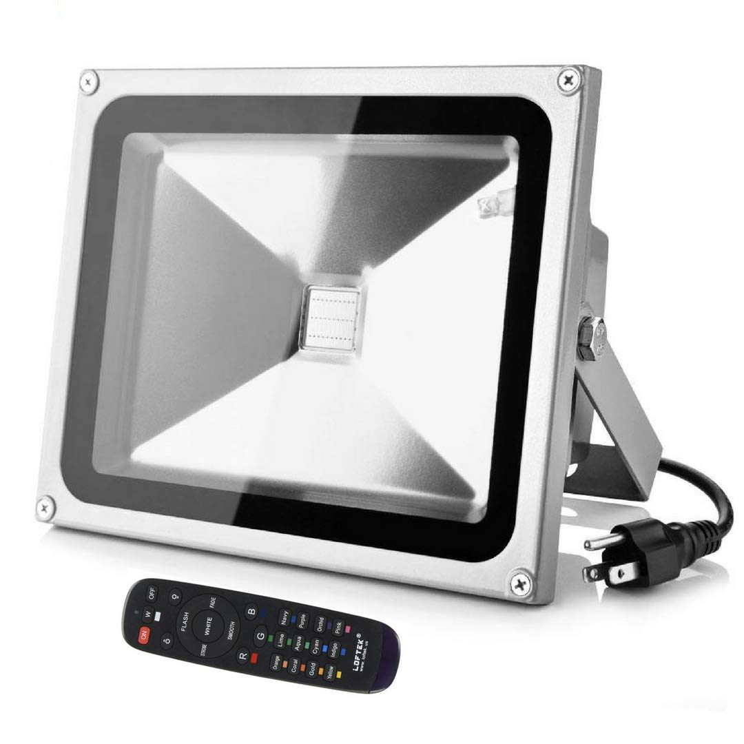 LOFTEK RGB LED Flood Light, Proto 50W Outdoor light, Waterproof IP65 Spotlight, 16 Colors Changing and 4 Modes with Remote Control, Black