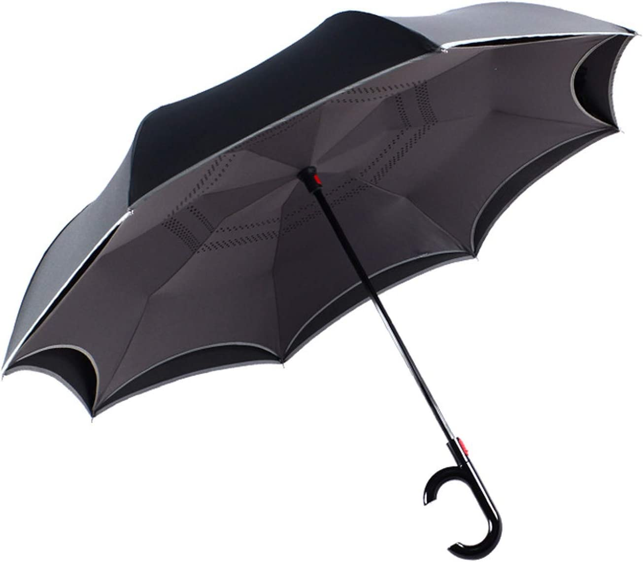 Windproof Automatic Reverse Umbrella Rain Women Folding Double Layer Black Color Umbrella Rain Gear Household Merchandises,Gray