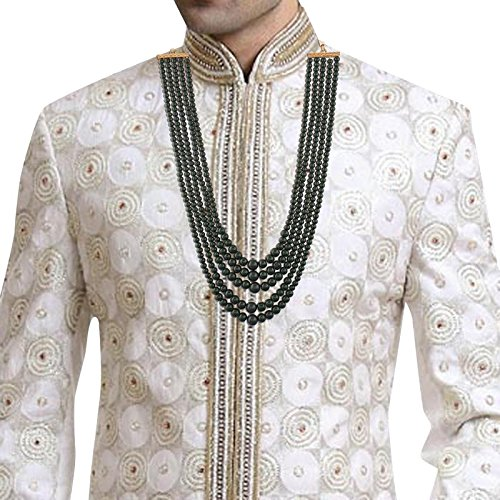 MLP19G I Jewels Gold Plated Dulha Necklace//Moti Mala for Men