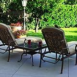 Darlee Santa Barbara 3 Piece Cast Aluminum Patio Chaise Lounge Set With Granite Top Table – Mocha / Brown Granite Tile