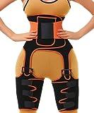 2 in 1 Waist Trainer and Thigh Trimmer Double Compression Belt Leg Support Sweat Sauna Effect (Orange, Small/Medium)